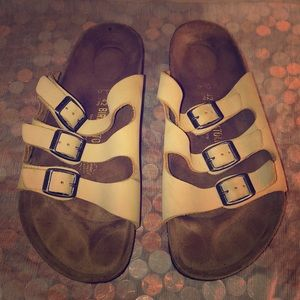 Birkenstock Florida Tan Leather Slide Sandals